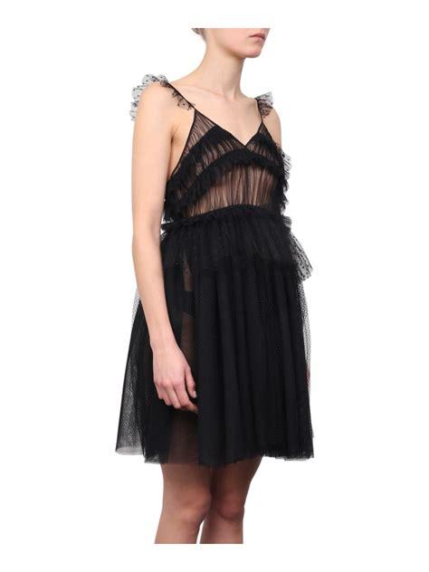 Mini Tulle Dress msgm ruffled tulle mini dress in nero modesens