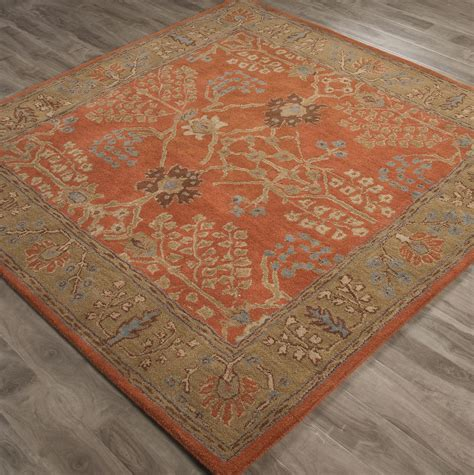 6x6 area rugs 6x6 square area rug butternut border burnt ochre orange brown tufted ebay