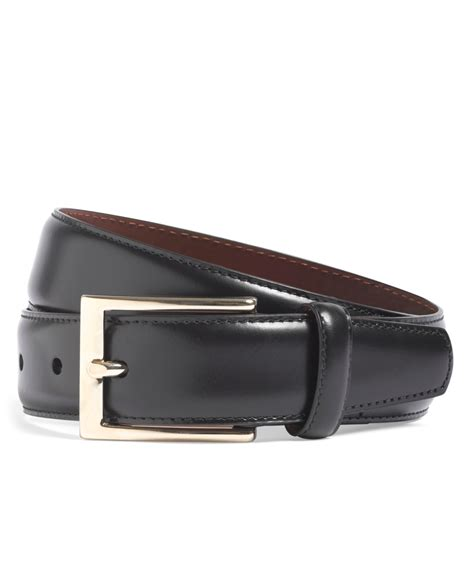 brothers gold buckle leather dress belt in black