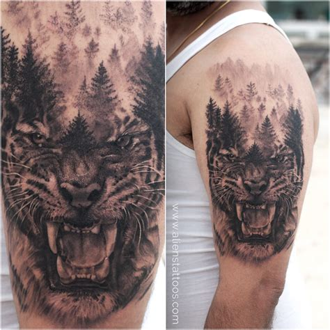 ferocious tiger tattoo by sunny bhanushali at aliens