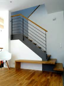 treppe stahl holz moderne treppe aus stahl holz mit integrierter bank