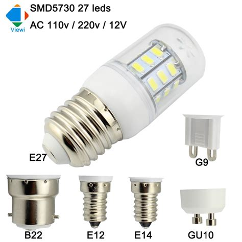 12v Gu10 Led Light Bulbs Viewi Bombillas 12v Led Bulb E27 E14 E12 B22 Gu10 G9 Home Light 220v 110v Smd5730 27leds 12 Volt