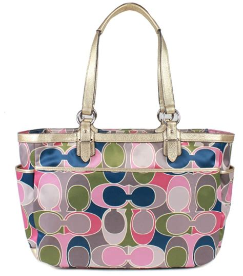 Coach Signature Stripe Scarf Print Tote by Snap N Zip Fashion Accessories Coach Signature Gallery