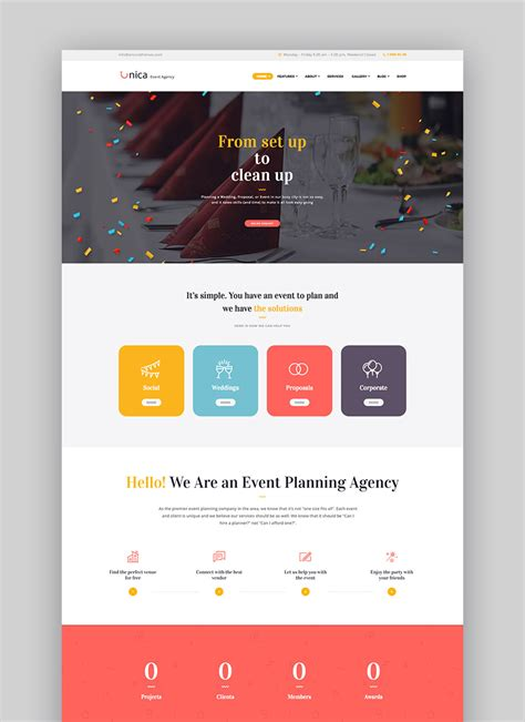 childrens party planning website design sidebar navigation