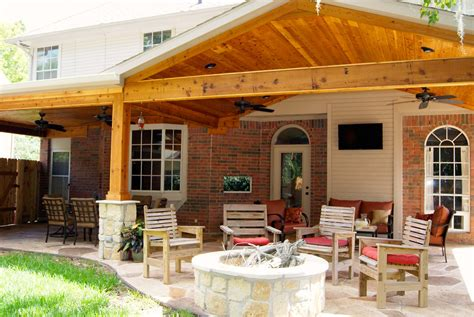 Flat Roof Garage Design patio cover with stone amp cedar texas custom patios