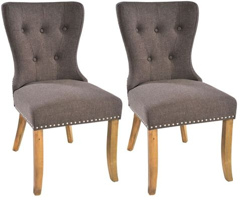 Fabric Dining Chairs Uk Buy Adelf Button Back Tiara Grey Fabric Dining Chair Pair Cfs Uk