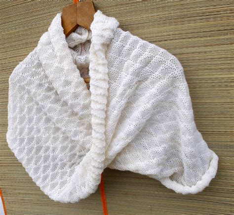knitted white scarf knitted white lace cowl scarf knit wool by peonijahandmadeshop