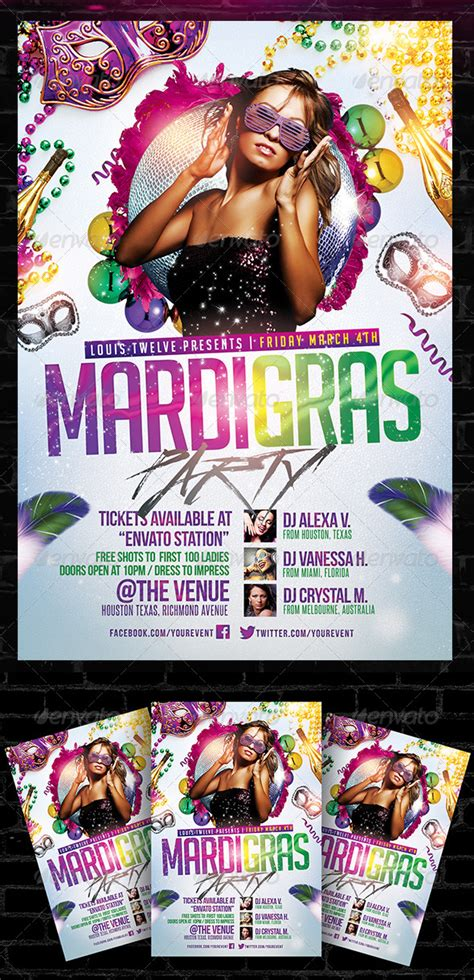 carnival party flyer mardi gras carnival party flyer template graphicriver