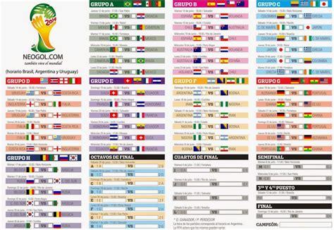 Calendario De Partidos Almanaque Mundial Brasil 2014 Todo El Calendario