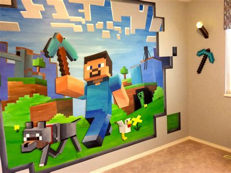 minecraft bedroom wallpaper 14ft x 8ft custom minecraft mural minecraft mural