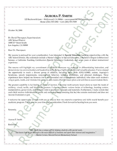 Resume Cover Letter Education Special Education Cover Letter Sle