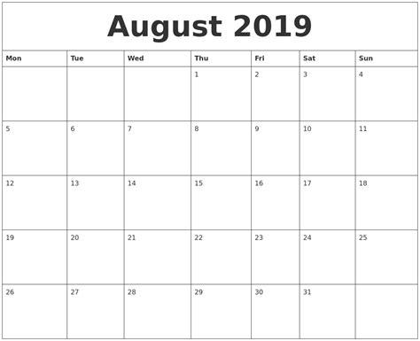 printable calendar 2014 monday start august 2019 word calendar