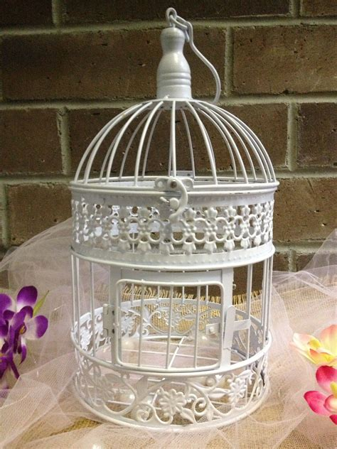 White Birdcage Wedding Gift Card Holder Wishing Well - idearibbon