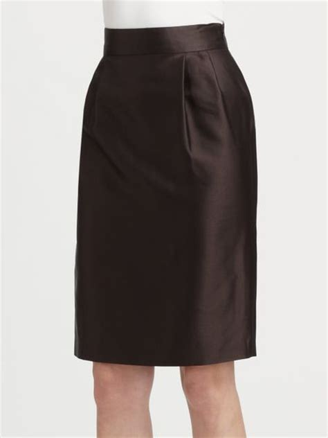 moschino cheap chic pleated pencil skirt in brown