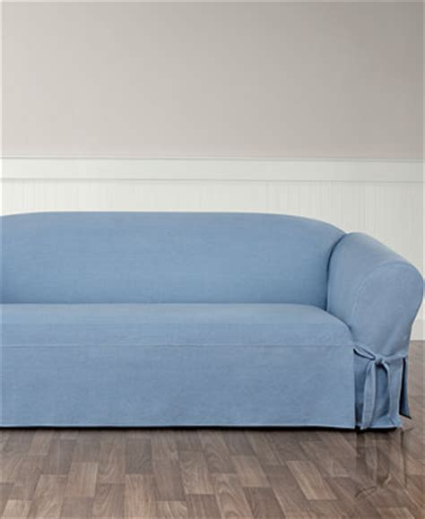 Sure Fit Authentic Denim One Piece T Cushion Sofa Denim Sofa Slipcover