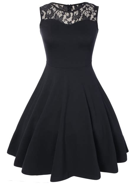 6 Of The Best Black White Inspired Dresses by Knee Length Lace Pleated Dress In Black M Sammydress