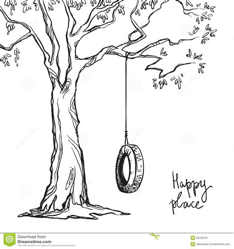 swing illustration tree with a swing stock vector image 50196467
