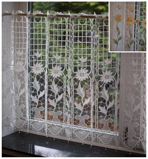 net curtains 30 inch drop macrame lace ready made cafe net kitchen curtain panel