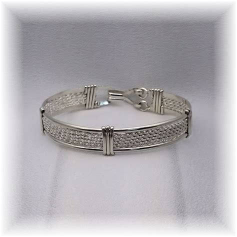 Handmade Sterling Silver Bracelet - woven wire wrapped wire formed silver and sterling