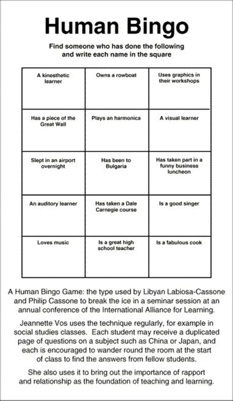 human bingo template human bingo human bingo is a great icebreaker and