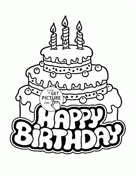 big cake coloring pages 3rd birthday big cake coloring page for kids holiday