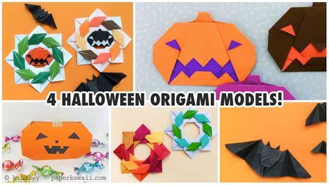 Easy Halloween Decorations To Make At Home 4 Cute Halloween Origami Models Paper Kawaii