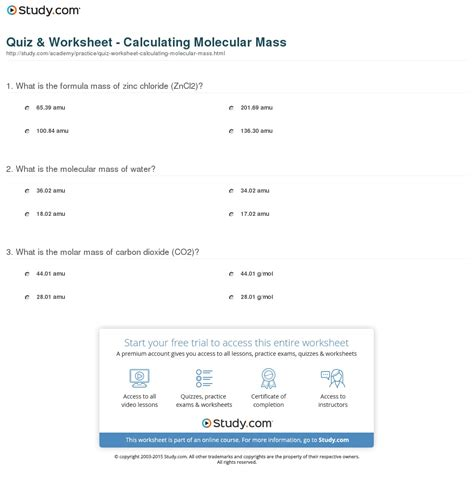 atomic mass calculations worksheet calculating molar mass worksheet