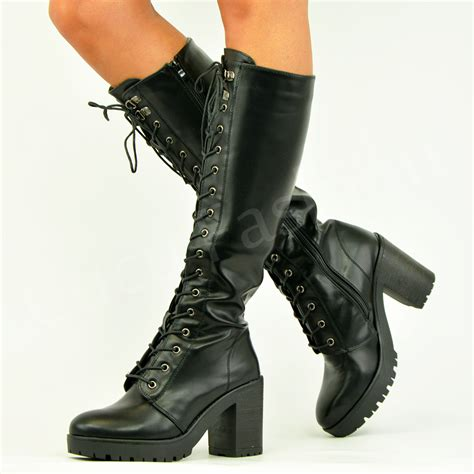 womens biker boots with heels womens knee biker boots lace up block heel chunky