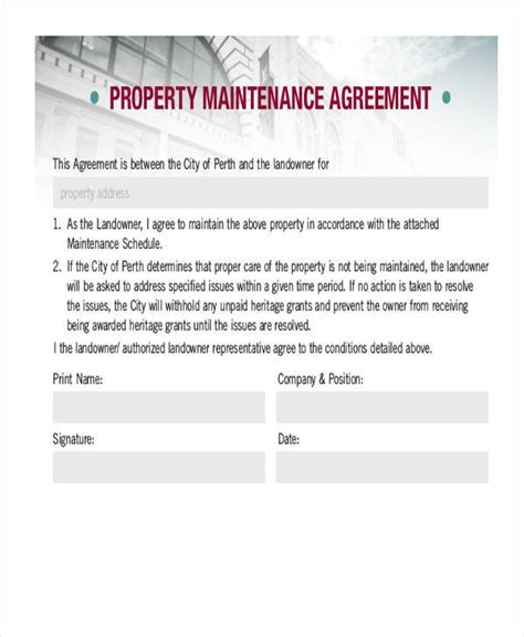9 Property Contract Sles Templates Pdf Doc Property Maintenance Contract Template