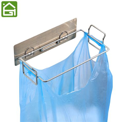 Self Adhesive Stainless Steel Plastic Bag Trash Bin Holder