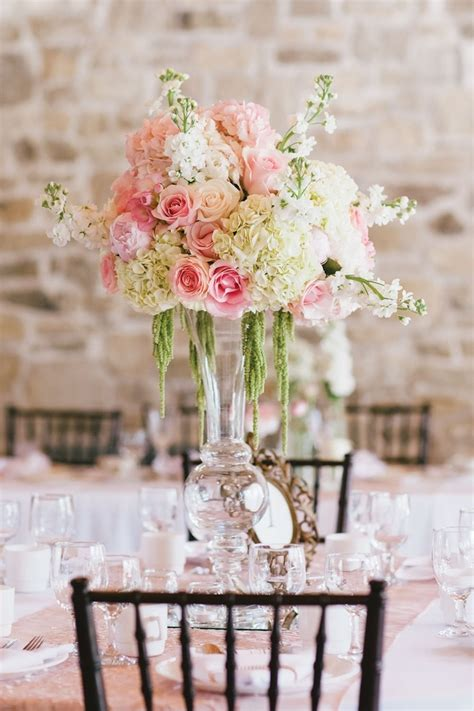 floral centerpiece with pink roses and hydrangeas