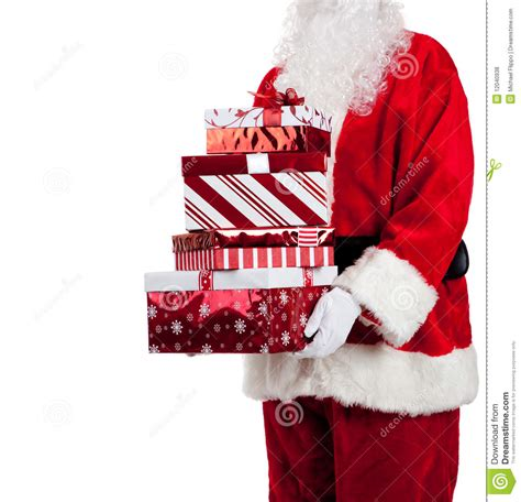 santa claus giving christmas presents royalty free stock