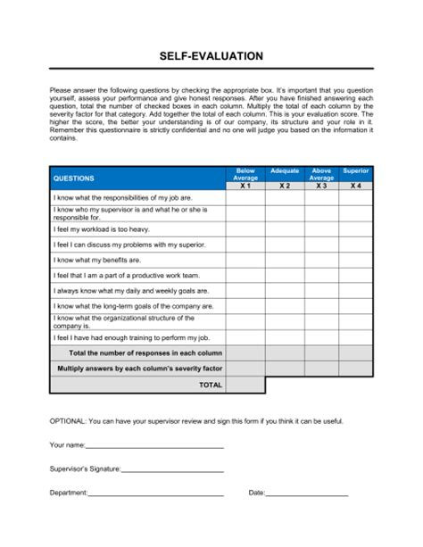self evaluation template sle form biztree com