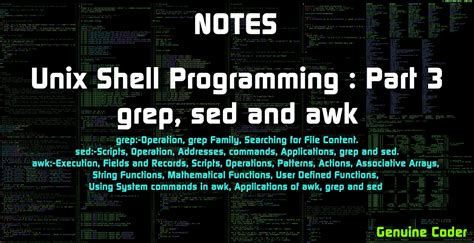 awk and sed unix shell programming grep sed and awk