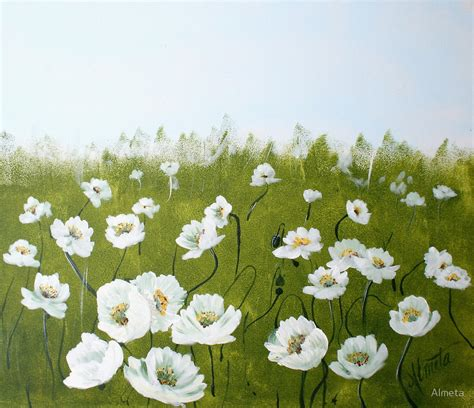white poppy quot field of white poppies quot by almeta redbubble