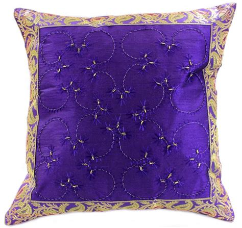 Designs For Pillow Covers by Embroidered Beaded Throw Pillow Cover Banarsi Designs