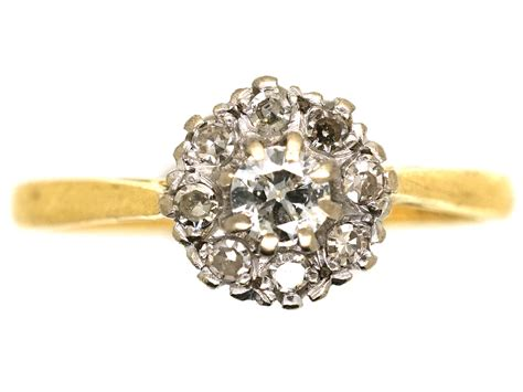 Diamon Gold 18ct white yellow gold cluster ring the antique jewellery company