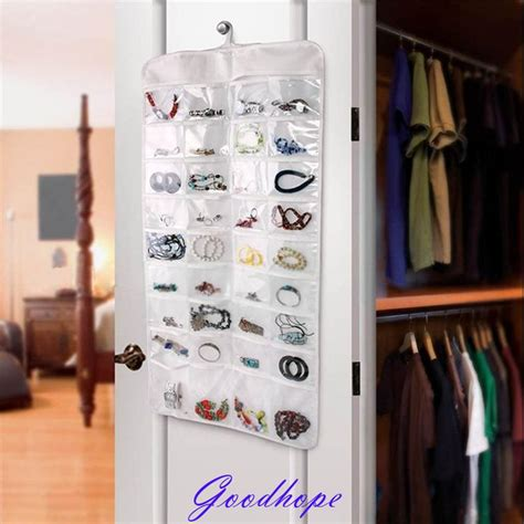 Murah Grosir Hanging Jewelry Organizer Accecories Display Hanging Tem wall door closet jewelry and accessory hanging organizer ear ring necklace bangle storage