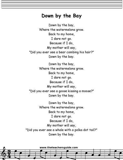 by by down by the bay lyrics printout midi and video