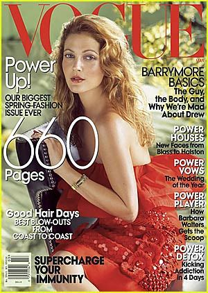 Drew Barrymore On March Cover Of by Drew Barrymore Vogue March 2008 Drew Barrymore
