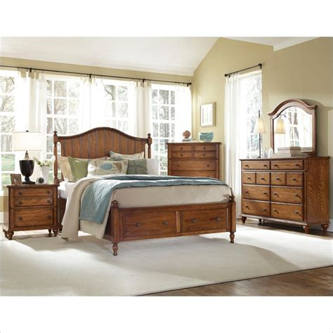 Broyhill King Bedroom Sets Hayden Place Panel Storage Bed 5 Bedroom Set In Oak