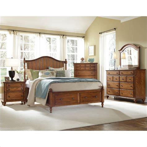 Hayden place panel storage bed 5 piece bedroom set in oak 4645 5pc panelstoragebed set