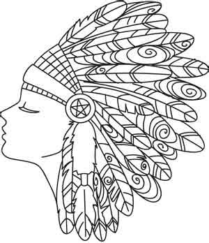 coloring page indian headdress feather headdress urban threads unique and awesome