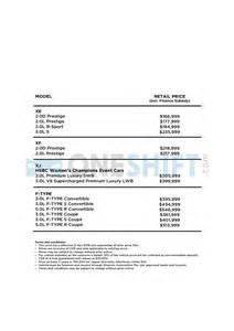 Jaguar Cars With Price List Jaguar Singapore Printed Car Price List Oneshift