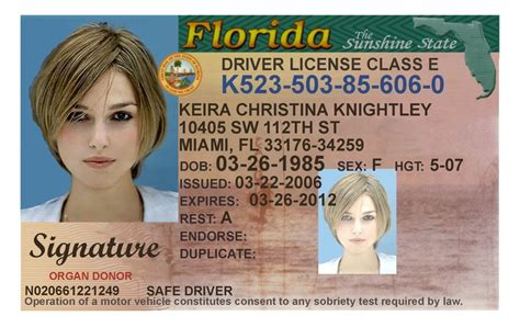 florida drivers license template here s a sle of a florida id card that s sold by a