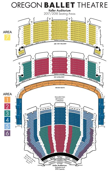 auditorium seating chart seating charts oregon ballet theatre portland oregon