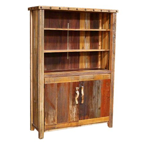 Barnwood 2 Door Bookcase with Nailheads