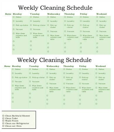 weekly cleaning schedule template weekly schedule template 9 free word pdf documents