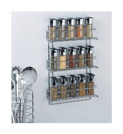 Chrome Spice Rack Three Tier Mounted Spice Rack Chrome In Spice Racks