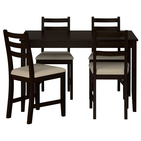 ikea table dining lerhamn table and 4 chairs black brown ramna beige 118x74